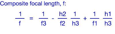 Composite focal length, f: